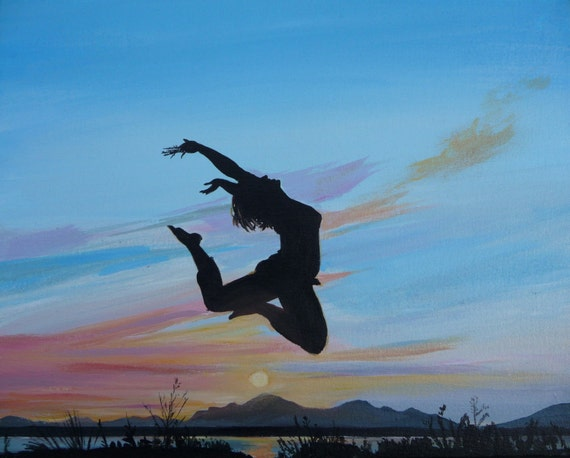 Jump For Joy Original Painting Figure Art Sunset Silhoette Dancer Landscape On Canvas