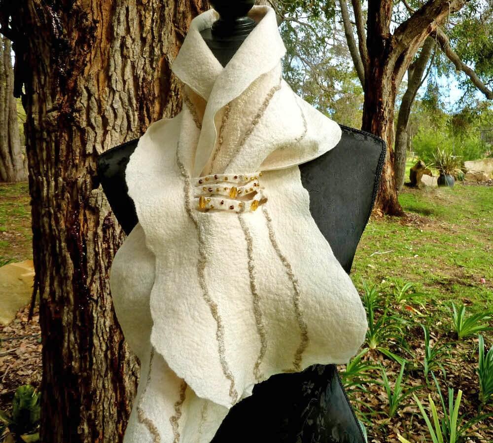 White Felt Scarf Beaded Felted Australian Merino Wool Scarf Eagle  White Silk Scarves Australia