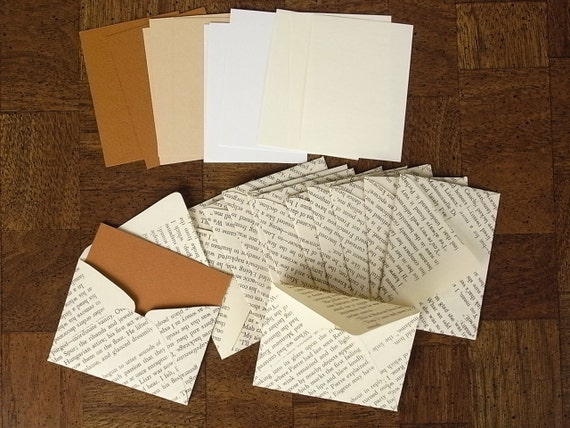 Vintage Recycled Book Envelope Set