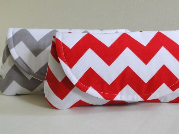 Red clutch, chevron stripe, red and white wedding,