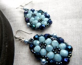 Beaded Earrings - Framed Flower Light and Dark Blue - OceanPearlJewellery