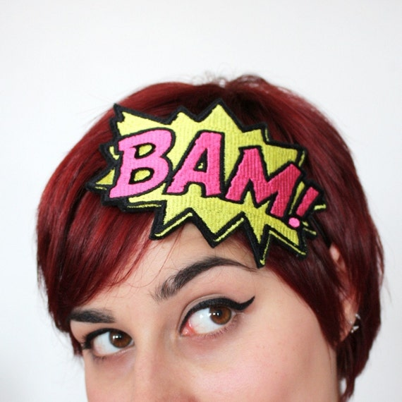 Headband, Comic BAM, Onomatopoeia Headband, Yellow and Hot Pink