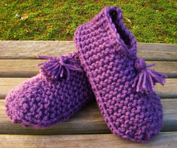 Free Knitting Pattern For Knitted Slippers : Slipper Pattern Knit Patterns Gallery