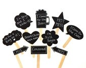 10 Chalkboard Photo Booth Props Speech Bubble Props Chalk board Photobooth Props Set of 10 Wedding Photo Props Decoration