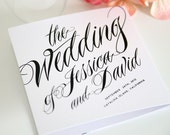 Ravishing Script Tri Fold Wedding Programs Sample in Black and White on Pearl Shimmer Luxury Cardstock - shineinvitations