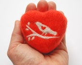 Felted Soap Orange Heart with a Bird on the Branch (Love Spell) - SoFino