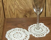Set Of 6 White Lacy Coasters - amydscrochet