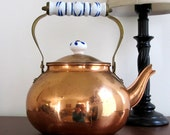Copper Tea Kettle with Blue and White Ceramic Accents - LizzieJoeDesigns