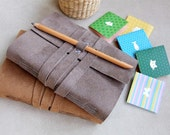 Handmade  Suede Leather Cover Notebook Journal - flamboyanhandmade