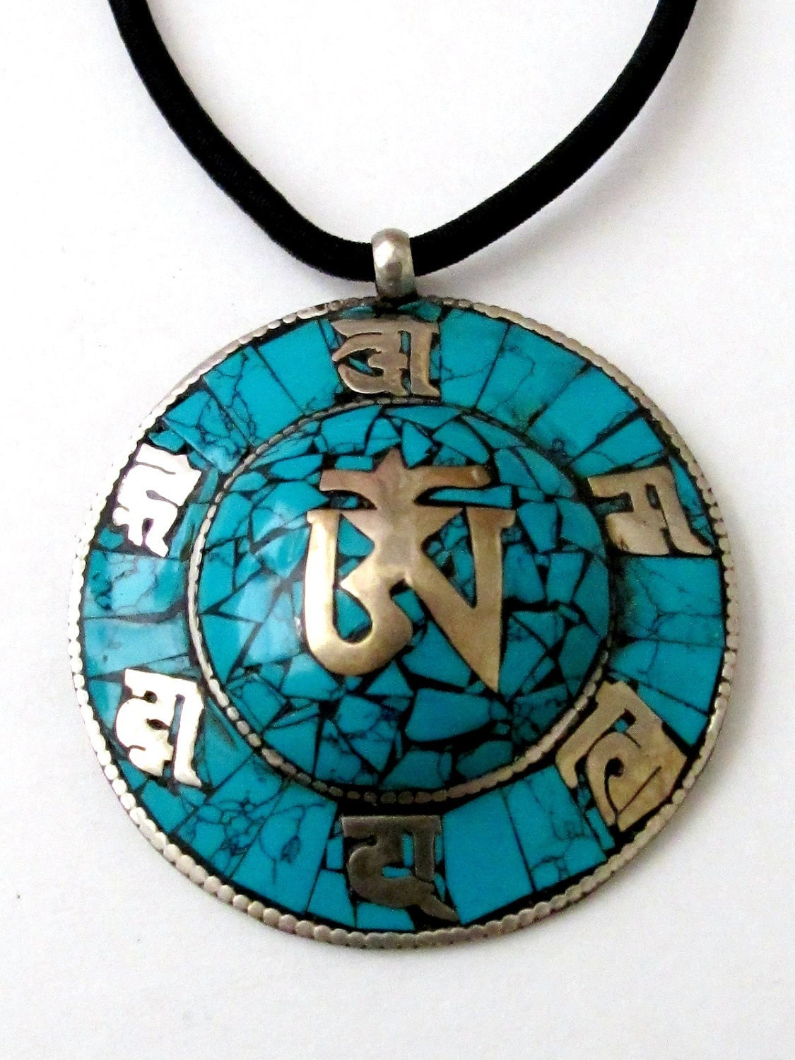 Tibetan Pendants on Tibetan Om Pendant With Turquoise Inlay By Nepalbeadshop On Etsy