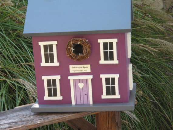 Private Listing for Lisa -- Wedding Card Holder Birdhouse Box Plum and Charcoal