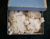 3 little alencon french antique lace appliques - TextileArtLace