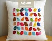 Sukan / Color Birds Linen Pillow Cover - Custom Pillow Cover - Valentine Day Gift - Decorative Pillows - Accent Pillow - Throw Pillow
