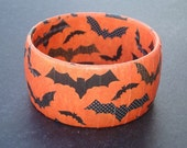 Halloween Bracelet orange with black pattern bats
