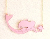 I'm Really a Mermaid Pink Necklace - ilovecrafty