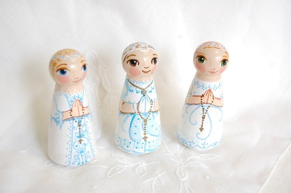 First Communion Girl Wooden Peg Doll - Custom - Made to Order