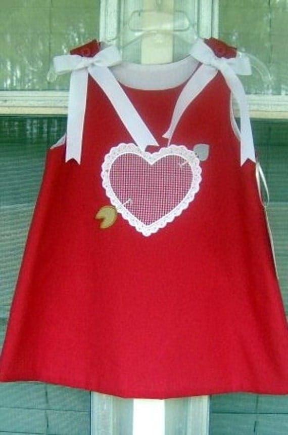 Appliqued and embroidered Red Valentine Dress Size 9 months to 5