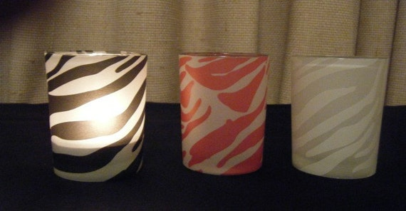 Fun Zebra Votive Candles - Set of 3