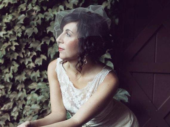 Wedding Veil, Birdcage Veil, Tulle Blusher, White, Ivory, Champagne - LORNA