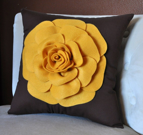 Throw Pillow - Vintage Pillow - Mustard Yellow Rose on Brown Pillow 14 x 14 Vintage Style