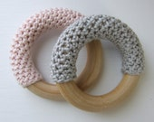 Pink and Grey Hand Crocheted Wooden Teething Rings (Set of Two with Organic Carry Bags) - mimiandlu