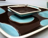 Square dish set in Aqua and Brown Polka Dot by Kimberly Geiger - Mypolkadotpottery