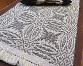 Table Runner, Handwoven White & Slate Gray Brown Heather Cotton, Wool Classic Rustic Style Cabin Cottage Farmhouse Home Decor