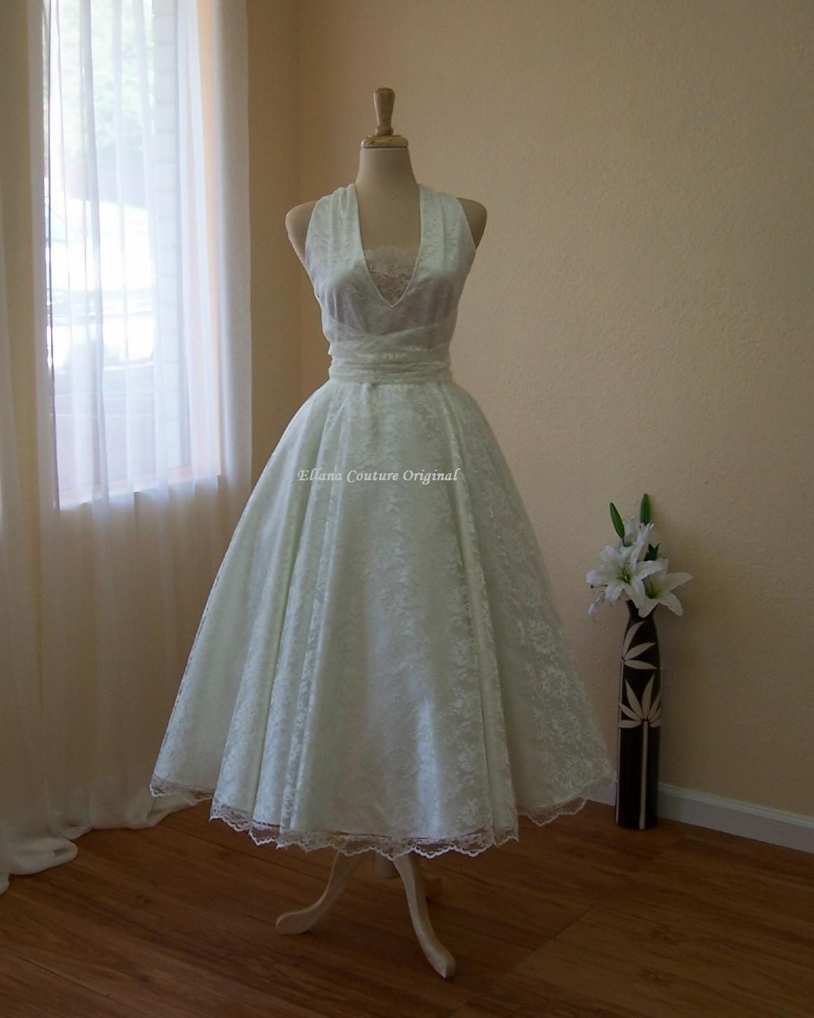 Tea length wedding dresses vintage cheap wedding dresses for Vintage wedding dresses tea length