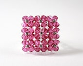 Blingy Crystal Square Cocktail Ring with Magenta Swarovski Crystals - BevaStyles