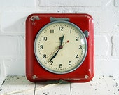 Vintage Wall Clock - Red General Electric Model 2H08 - ZinniaCottage