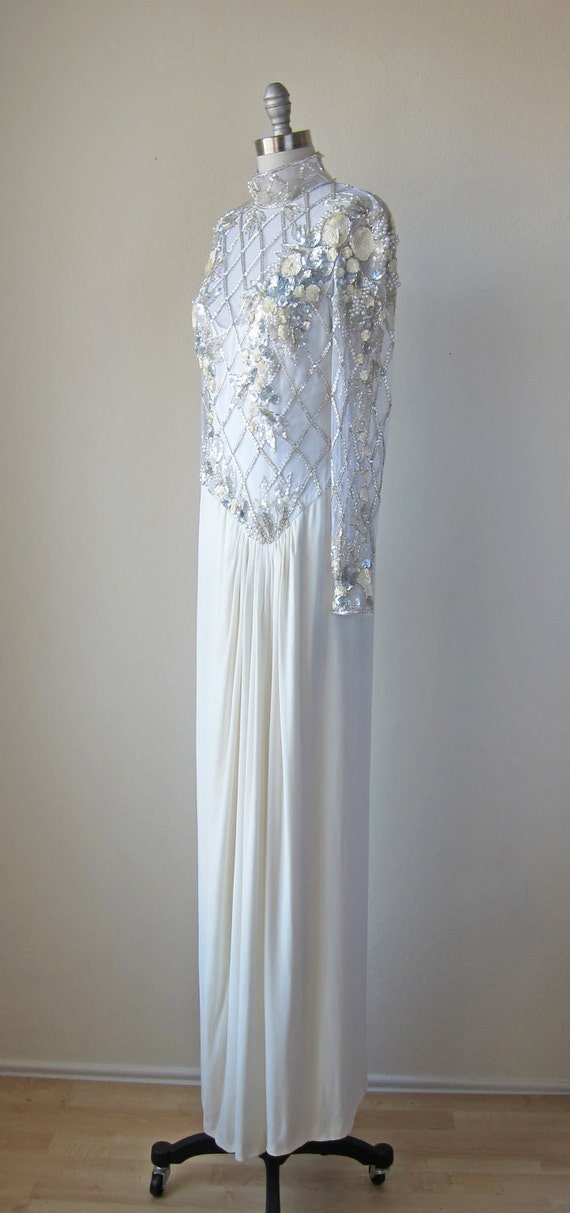 1980s White Sequin Dress/ Bob Mackie Boutique/ 80s Glitz Gown