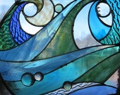 Ocean Wave Stained Glass Panel - RenaissanceGlass