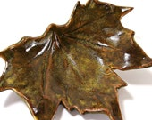 Ceramic Sycamore Leaf Dish - Northern Woods - Autumn Brown - Handmade Pottery - Home Decor - Ravenhillpottery