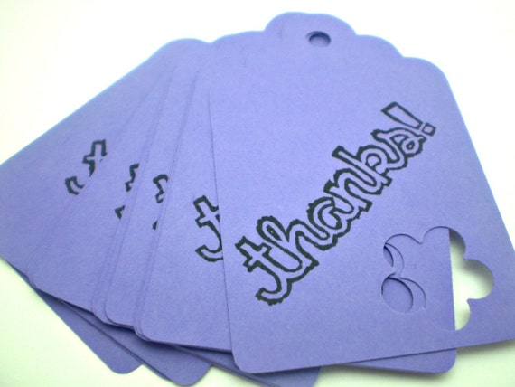 Thanks Tags in Purple - set of 15 - HANDMADE by the KIDS