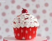 Mini Cupcake Ornament Red Polka Dot - Valentine's Day - AmyMillerDesigns