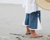 Girls denim capris,Light denim summer gauchos, with white eyelet insert, summer pants, denim summer wear, beach wear, sizes 2T and 4T - emmifaye