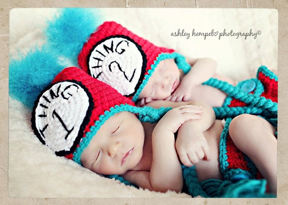 Thing One and Thing Two twin photo prop set, includes two hats and two diaper covers