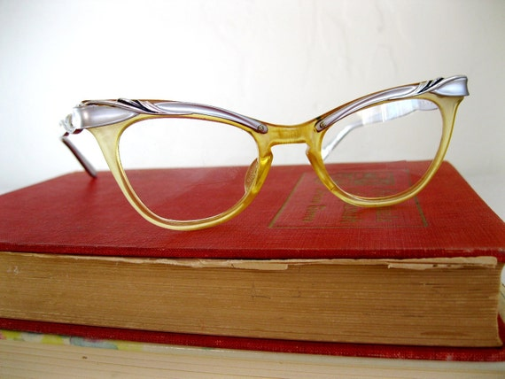 1950's style cat eye glasses in yellow and clear