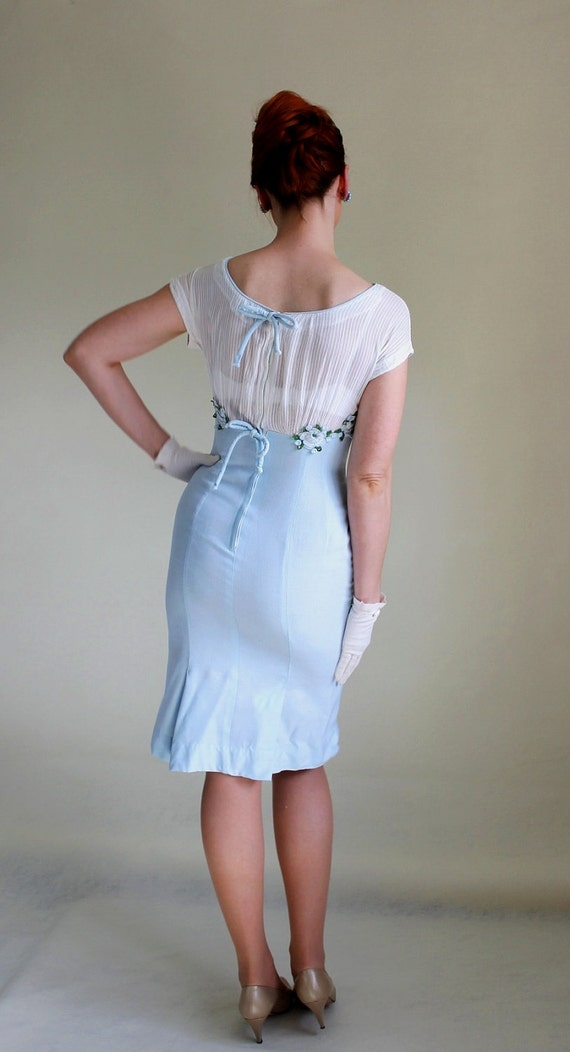 pale blue and white 1950's women's dress