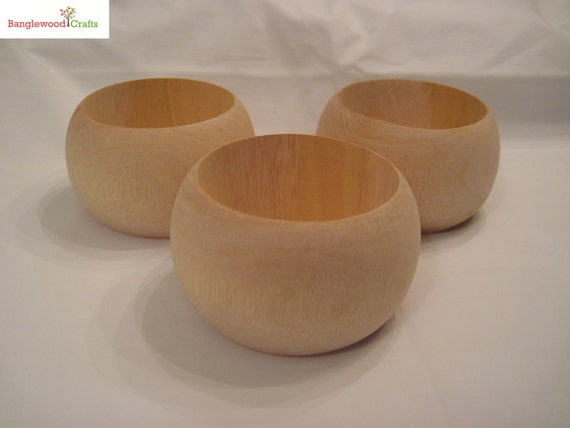 3 Large Unfinished Dome Wood Bangles