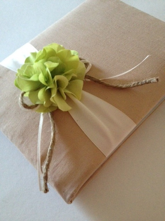 Rustic Wedding Guest Book - Green Hydrangeas - Tea Dyed Muslin and Cream/Ivory Ribbon - Handmade - Free Shipping