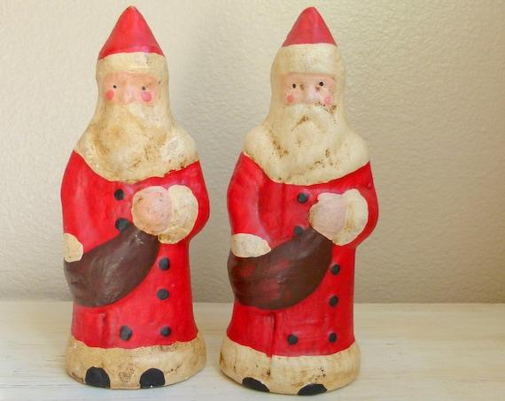 Large Vintage Chalkware Santas