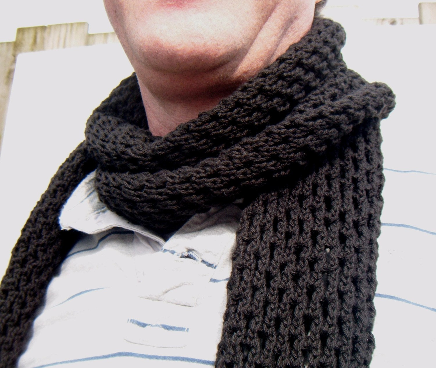 mens scarf hand knit openwork pattern black hole scarf from polclary Hand Knitted Men's Scarves