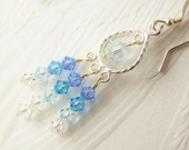 Blue Aqua Azore Crystal Sterling Silver Chandelier Earrings - JanMarieArts