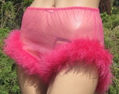 Vintage 50s Sheer Pink Nylon Chiffon Burlesque Feather Boa Trim Pin Up Girl ...