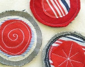 Nautical Fabric Circle Brooch in Red, White and Blue 2 by OnePerfectDay - OnePerfectDay