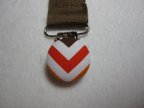 Zig Zag Pacifier Clip - Brown Grosgrain Ribbon Paci Clip - Baby Boy - Remix Bermuda Zig Zags - Optional Embroidery (Additional Fee)