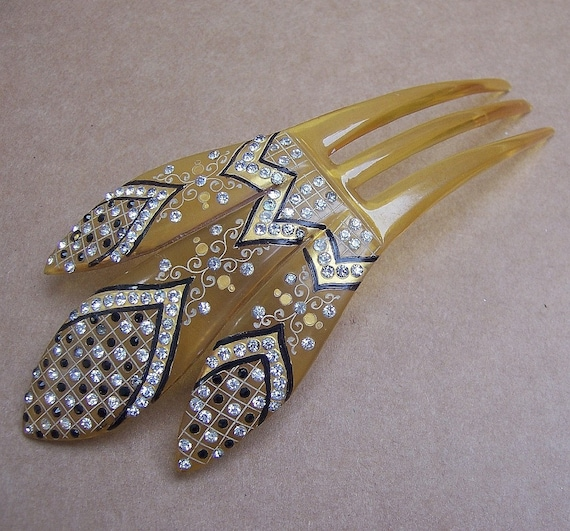 yellow black sparkly hair comb from antique collection