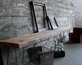 "5 ft Reclaimed Wood Industrial bench w/ mid century steel Hairpin legs (1.65"" Standard Top, 5ft x 11.5""w x 18""h) Ships Fast and Free - UrbanWoodGoods"