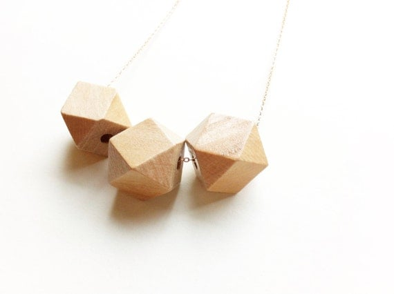 Geometric Autumn Wood Bead Necklace / Modern Tribal